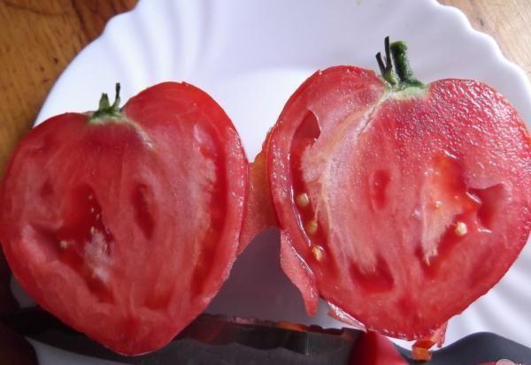 Разрезанный томат на тарелке