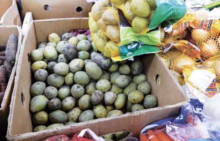Позеленевшая картошка в ящике